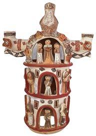 Peruvian terracotta candelabra w/handled back