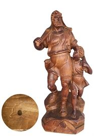 """Hand carved figure of William Tell and his son, Walter, after the statue by Kissling in Altdorf; 23.75"""""""