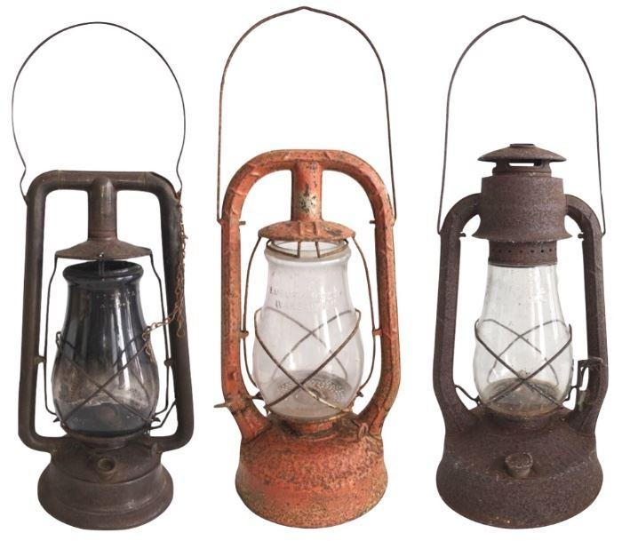 Trio of three railroad lanterns, two by Dietz one by Embury