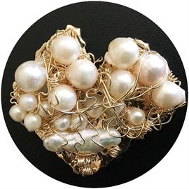 "Nikki Feldbaum Sedacca  Gold, cultured and freshwater pearls broach 2"" x 2.25"""