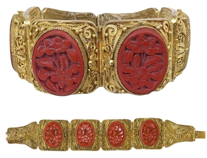 """7"""" Chinese filigree bracelet with four carved cinnabar floral insets; stamped SILVER on clasp; gold wash over silver"""