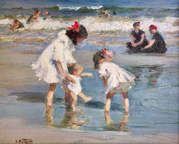 """Reproduction of Edward Potthast's """"Children Playing by the Seashore"""""""