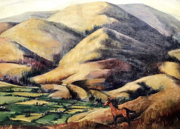 """Landscape with horse; original oil on masonite; signed L/R M. Kelly? McColly?; 17.5"""" x 23.5""""; w/frame 21"""" x 26.5"""""""