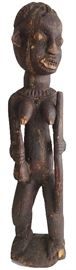"""African Female Figure Wood Early to mid 20th century 35"""" Bamileke/ Cameroon Grassfields; has characteristic protruding ears and eyes, filed teeth, rounded shoulders and back of head, and is carrying a ritual calabash"""