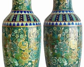 Pair of famille verte vases, mark raised in glaze on bottom