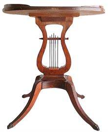 """One of a pair of 23"""" tall oval lyre tables by Lexington Chair"""
