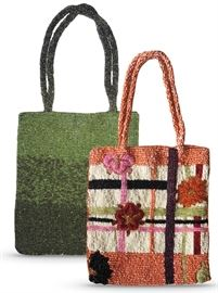 """Green beaded 7"""" x 6.25"""" purse by Caché and 6.5"""" x 6.25 floral design purse, made in India"""