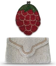 """Beaded purses; 4"""" x 3.5"""" strawberry coin purse and 4"""" x 6.25"""" clutch"""