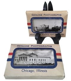 """Two packs of 20 miniature photos of Chicago sites from the Grogan Co. of Danville, IL, known for pocket-sized packs of photos of historic points of interest; photos under 2"""" x 3""""; rare and in good condition"""