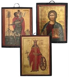 Three miniature Russian icon plaques depicting Saint Christopher of Lycea carrying Christ Child; Christ Pantocrator and Saint Catherine of Alexandria, with her wheel