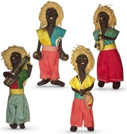 """Four vintage Caribbean tourist dolls in native attire; possibly Jamaican Rasta colors of green, gold and yellow; each holding musical instruments; 4"""" high"""