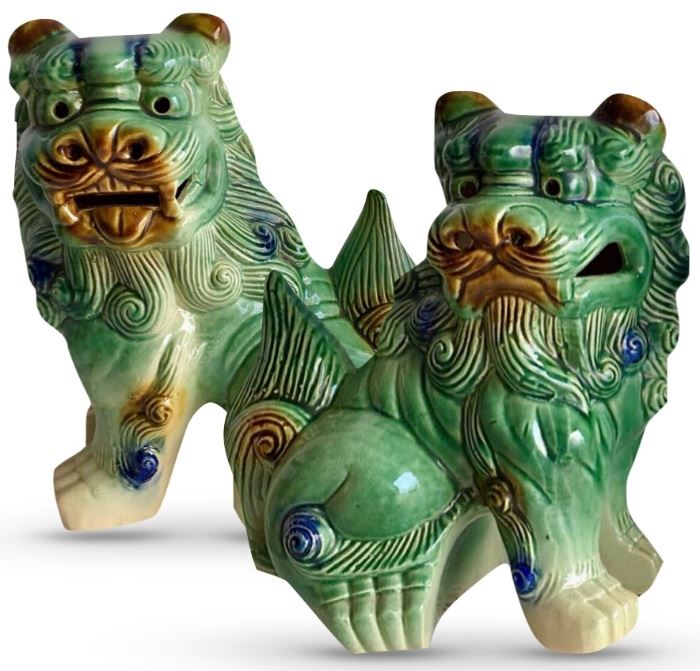 "Pair of decorative modern foo dogs; 12"" H"