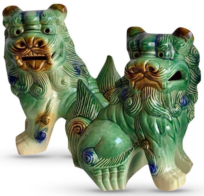 "Pair of decorative modern foo dogs; 12"" H"