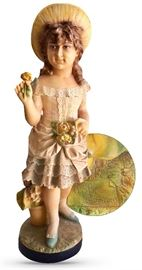 "33"" signed painted bisque or chalkware doll figure; signature appears to be Italian — P. L. Grinnalla?"