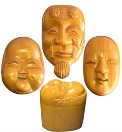 "Three polished cypress wood Japanese boxes (only one shown) with carved Noh mask lids; 5.5"" H"