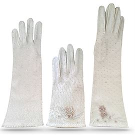 """Three pair of gloves made in Crown Colony of Hong Kong; embellished w/beads and decorative stitching ; L to R: 12"""", 8"""" and 14"""""""