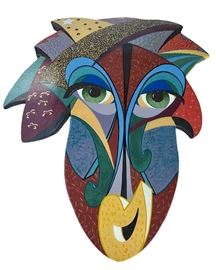 """Very difficult to find large terracotta and slip wallart by Tucson artists Tim and Pamala Ballingham; """"The Jester,"""" c. late 1970's; signed and titled on reverse, with hardware for hanging; according to artists, secondary market prices reach $1200, but our price nowhere near such"""