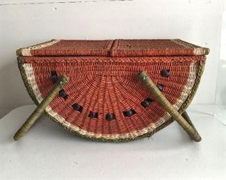 Vintage folk art-y watermelon basket