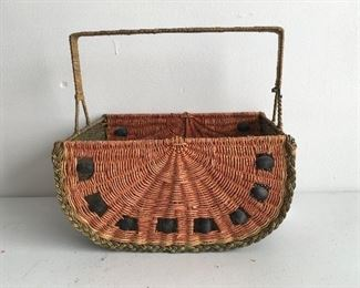 One of two vintage watermelon baskets