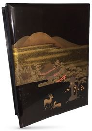 Great item to recall our precious WWII vets:  1940's Japanese lacquerware accordion-style album, fans open to about 20 blank pages; interior boards hand-painted by Teiichi, depicting scenes of U.S. servicemen on duty in Kyoto; lot of historical interest