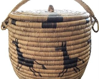 Detail of lidded, coiled Native American basket