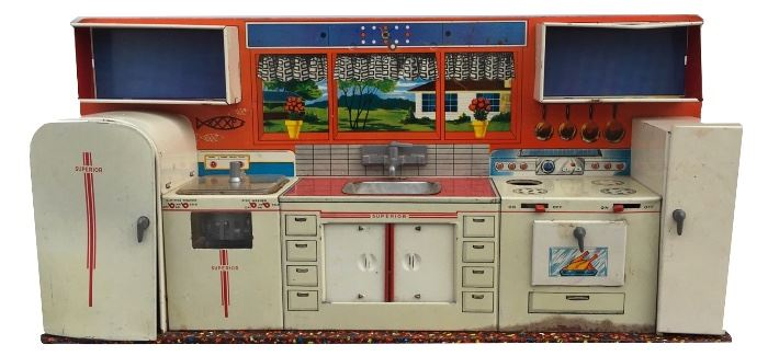 """Metal and litho toy kitchen by Superior Toy Co.; mid-century; 11"""" x 23"""" x 4"""""""