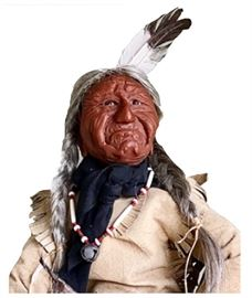 Close-up of Osage Indian doll from the Carolinas