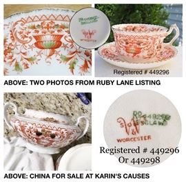 Assorted pieces of early 19th century china by H.M. Williamson & Son.  Ours looks to have the same pattern registration number as that on a Ruby Lane listing with possibly the last number.  The difference could indicate a slightly different colorway or date.