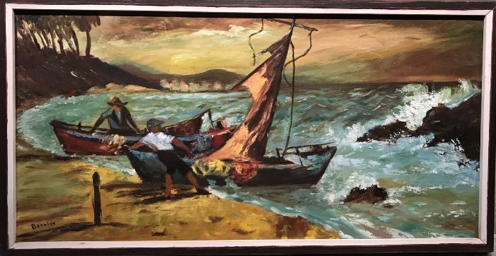 """Seascape signed only """"Bernice""""; with the frame: 16.5"""" x 31"""""""