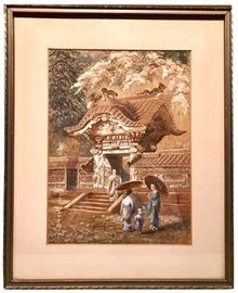 "One of our favorite and somewhat mysterious pieces —  a watercolor from c. 1900, signed and notated in L/L, indicating it is the Karamon Gate in the shogunate shrine in Nikko, Japan.  The signature looks to be C. Jee (?), not to be confused with the modern S. Jee.  Frame  to frame it measures 17"" x 14""."