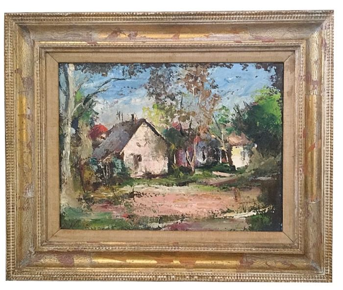 """Impressionist oil w/passages of impasto, signed L/L but not legible; 11.5"""" × 15.5"""" image; 18.75"""" x 23.25"""" with frame"""