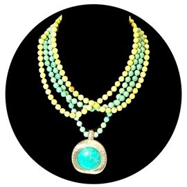 Simon Sebbag stone beads, turquoise and sterling necklace from LBK philanthropist; marked SSD 925 ; heavy sterling clasp