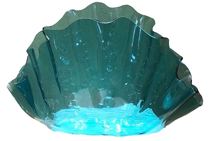 """Large 18"""" x 18"""" art glass shell — green throughout, but photographed on white sheet which shows through at base"""