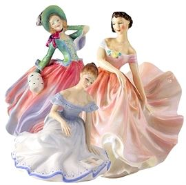 Royal Doulton figurines:  Autumn Breezes (with muff); Polka and Marjorie (with book)