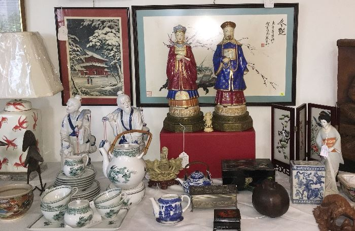 One if several Asianware tables which include decorative and jewelry boxes, lamps, ginger jars, buddhas, Tang-style and wooden horses, tea sets, fans, Asian art and more....