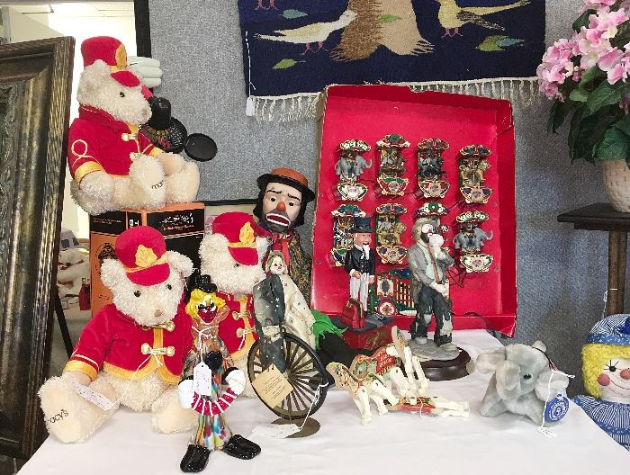 What would a Sarasota sale be without a circus table? Ours includes a Victoria Impex clown from 1976, a Flambro Emmett Kelly, Jr. clown, a framed Pallenberg's Wonder Bears print and an electric carousel with music...and the horses move!