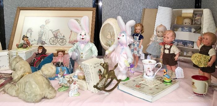 Toys and dolls tables include dolls by Madame Alexander and Hummel; figurines by Goebel, Beatrix Potter books and figures by Royal Albert; stuffed animals; a 1965 Blonde Misty Tammy doll and collectible toy cars.