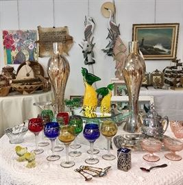 Glassware includes lots of recognizable names as well as the above mainly unsigned antique pieces.