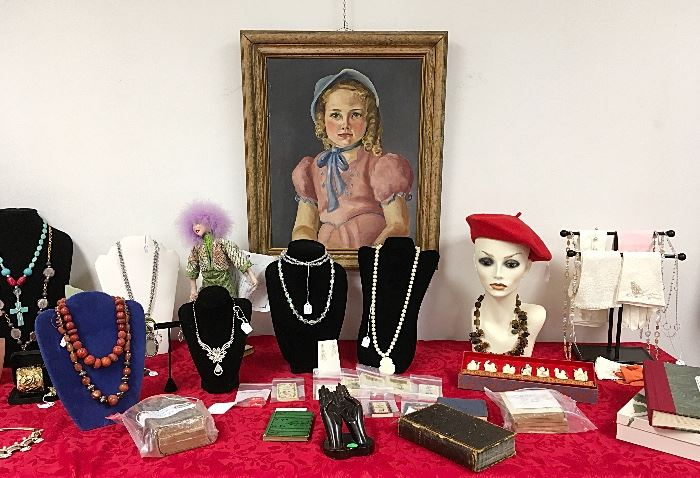 Over 1000 pieces of fine to costume jewelry await, along with designer bags and hats.
