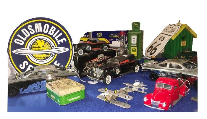 There are several tables of vintage toys, including the above table of cars, only a portion of which is shown.