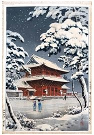 Woodblock print:  Tsuchiya Koitsu (1870 - 1949), Snow at Zojoji, 1933