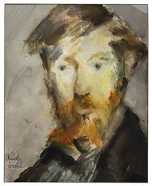 """Watercolor portrait signed by Ruth Walsh; image 9""""25"""" x 7.5"""" &  w/frame 14.25"""" x 11.25""""; one of many pieces we like to offer by artists we refer to as unlisted adepts, and many priced under $50"""