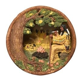 """Very cool mid-mod """"poured"""" wood lamp, about 9"""" in diameter; Native American campsite scene"""