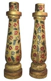 """About 14"""" tall vintage wood hand-painted candlesticks...a bargain today!"""
