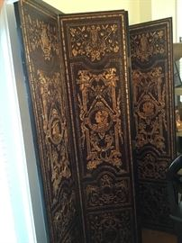 4 panel black and gold screen