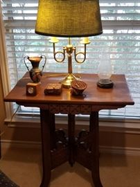 Great antique oak table with brass lamp