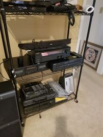 Lots of electronics: DVD players, stereo pieces, computer accessories and more