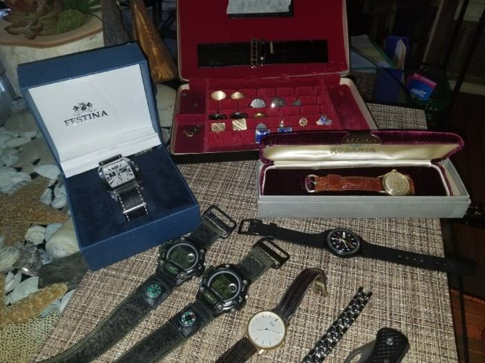 Some watches and men's accessories. Vintage Festina and Rodania men's watch