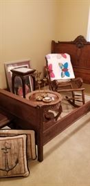 Antique bed frame,  carved tray table, plant stand and cane rocket