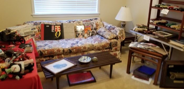 Mid-century sofa sleeper and slat table